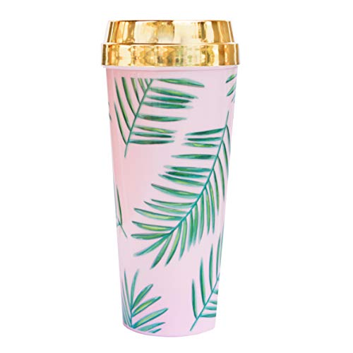 Palm Leaves Pink Travel Mug Tropical Pink + Green Plastic Travel Coffee Mug Summer Travel Tumbler with Gold Lid For Women Tropical Vacation Insulated Coffee Cup Travel Mugs for Hot Tea Pool Drink Cup