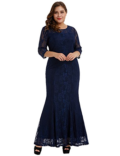 Hanna Nikole Plus Size Mermaid Lace Maxi Long Cocktail Dress Gown (Lace Gown Stretch Long)