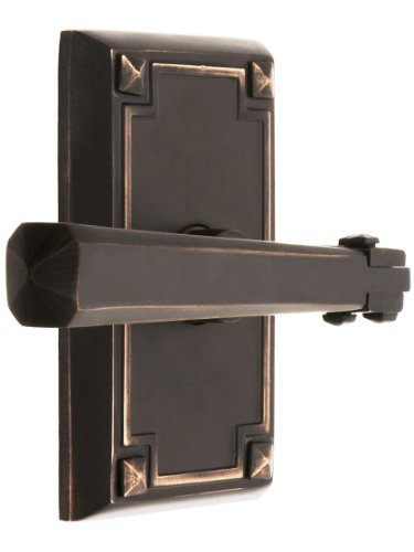- Craftsman Style Lever Door Set with Rectangular Rosettes Right Hand Privacy in Oil Rubbed Bronze. Door Hardware.