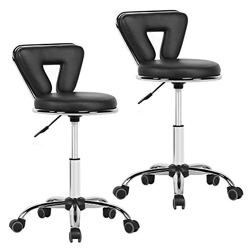 Yaheetech Hydraulic Rolling Swivel Salon Stool Chair Height Adjustable Home Spa Massage Manicure Facial Stool with Backrest and Wheels Black – 2PCS