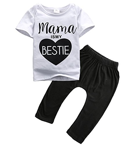 YUSWISH Baby Infant Toddler Pants Clothing Set T shirt Pants Outfit (100 cm / 3 - 4 Years, White and Black(Mama's My Bestie ))