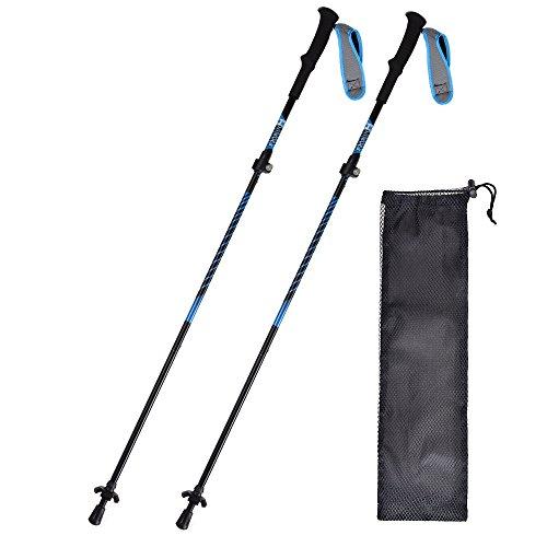 "HUKOER Trekking Poles Aluminum Ski Poles Walking Sticks Adjustable 42""-53"" Retractable Anti-Shock Durable Climbing Sticks with EVA Grips & Flip Locks for Outdoor Skiing, Walking and Climbing (2 Pack)"