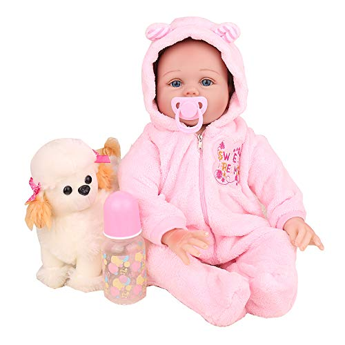 CHAREX Lifelike Reborn Baby Dolls, 22 inch Realistic Silicone Baby Dolls for Girls, Vinyl Silicone Newborn Dolls with Dog Set, Gift for Kids Age 3+