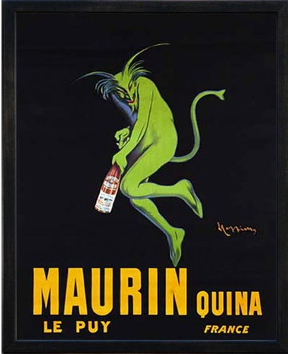 Maurin Quina le Puy - Green Devil, c. 1906 by Leonetto Cappiello. Framed Vintage Advertising Liquor Reproduction Poster. Custom Made Real Wood Modern Charcoal Black Frame (17 1/8 x 21 1/8)