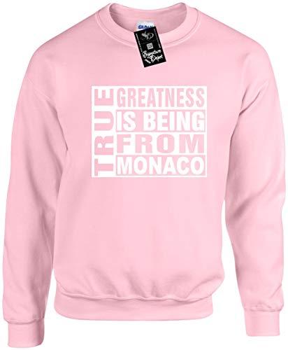 Unisex Funny Crewneck Sz S (True Greatness is Being from Monaco) Sweatshirt ()