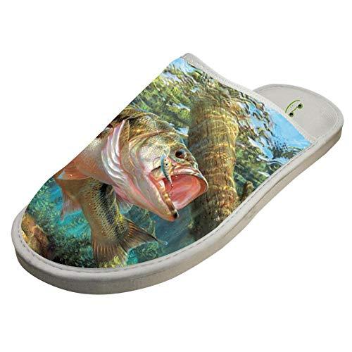 BVVST Bedroom Shoes Bass Fish Warm Indoor House Slippers For Women/Men