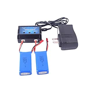 YouCute 2pcs 7.4v 1200mah Battery and 1to2 Charger for YIZHAN...