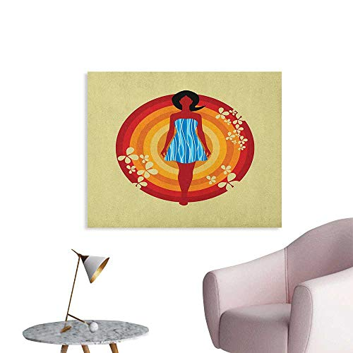 - Anzhutwelve Youth Painting Post Woman Silhouette in a Blue Dress with Wavy Stripes on Circles Flower Motifs Beauty Art Poster Multicolor W48 xL32