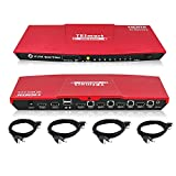 4K KVM Switch HDMI 4 Port, 4K 60Hz Ultra HD Multimedia with Audio Output Connect Multiple PCs, Laptops, Gaming Consoles to 1 Video Monitor, Keyboard & Mouse Includes 4 Cables w/USB & Remote, Red