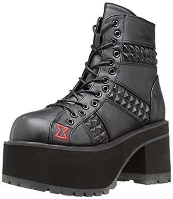 Demonia Women's Ran108/Bvl Ankle Bootie, Black Vegan Leather, 6 M US