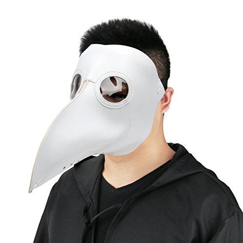 Cusfull Masque de Bec en PU cuir noir Peste Médiévale Docteur Médecin Masque Accessoire Costume Steampunk pour les adultes Halloween Party Carnaval Masques Mascarade (blanc)