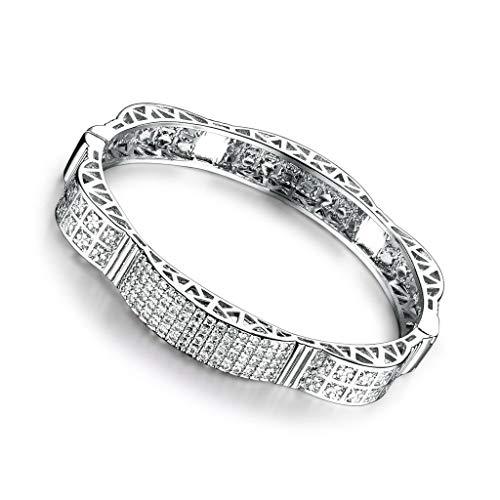 preeyanan 18K White Gold Filled Sapphire Crystal Womens Friendship Bangles Bracelet Cuff