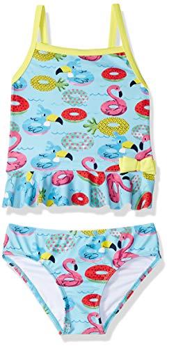 (KIKO & MAX Little Girls' Tankini 2-Piece Swimsuit Bathingsuit, Turquoise Floaties, 6X)
