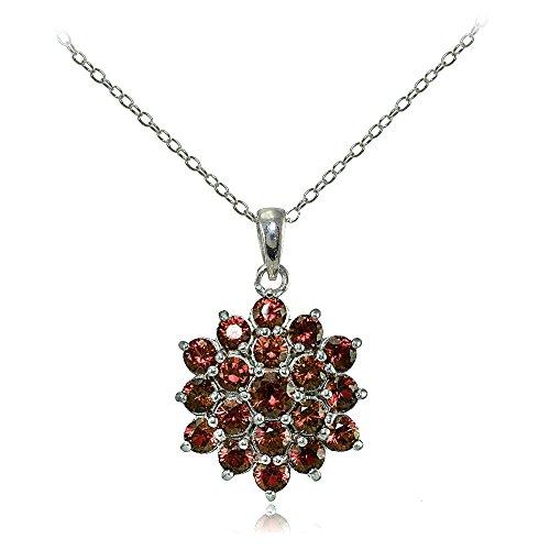 Silver Genuine Garnet Pendant (Sterling Silver Genuine Garnet Flower Necklace)