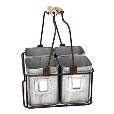 Metal Four Tin Organizer with Handles