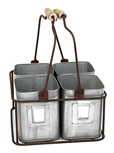 "Colonial Tin Works Metal Four Tin Organizer with Handles 9"" x 9"" x 5½"" Galvanized Gray Green ()"