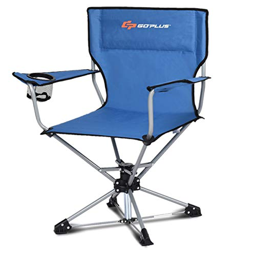 Goplus Swivel Camping Chair w Cup Holder Carrying Bag, Foldable 360-degree Free Rotation Chair for Fishing Picnic Hiking Blue