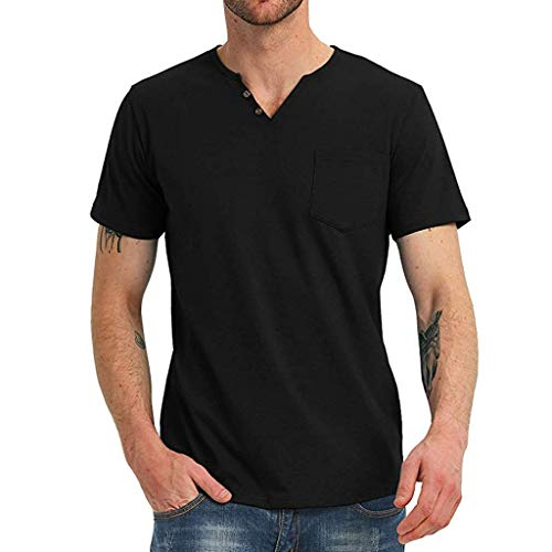 MIS1950s Mens Henley Shirts Short Sleeve Summer Beach V Neck Button Up Hippie Casual Work Tops Tee ()