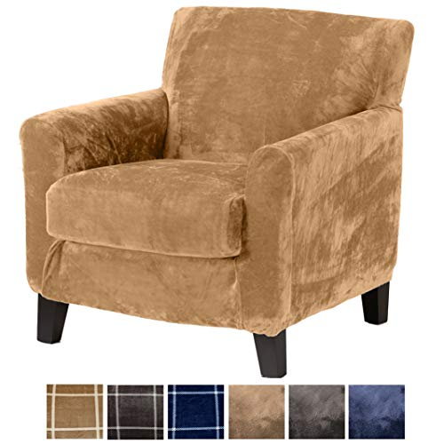 2 Piece Modern Velvet Plush Strapless Slipcover. Stretch Furniture Cover. Sorrento Collection by Great Bay Home (Chair, Warm Sand - ()