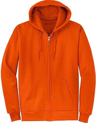 Joe's USA Full Zipper Hooded Sweatshirts, Orange,2X-Large