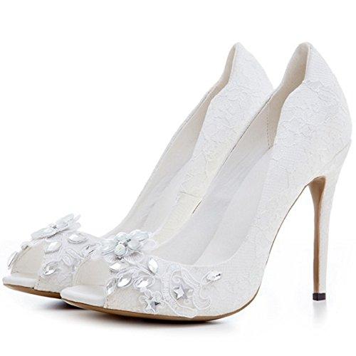 Peep Weiß Weiß Klassisch Schuhe Brautkleid Toe COOLCEPT Damen Court Schuhe wzXxgI71nq