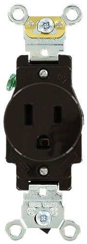 - Leviton 5261 15 Amp, 125 Volt, Industrial Heavy Duty Grade, Single Receptacle, Straight Blade, Self Grounding, Brown