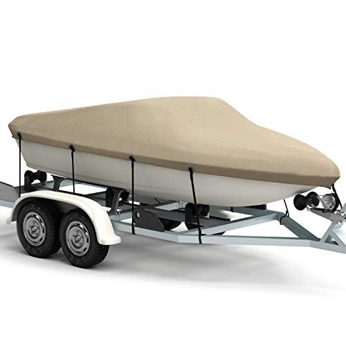 Kohree Bass Boat Cover Bayliner Boat Cover Fits V-Hull Tri-Hull Fishing Ski Pro-Style, Trailerable Runabout Boat Cover, Heavy Duty 600D Polyester for 17'~19' ()