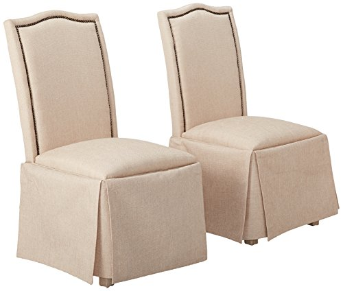 - Parkins Skirted Parson Chairs Ivory and Rustic Amber (Set of 2)