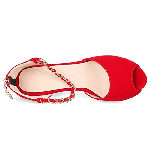 LongFengMa Women's Sexy Platform Stiletto Heeled Sandals Peep Toe Chain Strap Red 2FT2rw0C