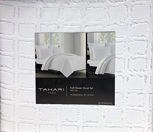 Tahari Bedding Full/Queen Size Cotton Duvet Comforter Cover Set Shams Solid White with Textured Geo Geometric Grid Squares Pattern Modern Boho Chic Embellished Frayed Edge Tufted Design
