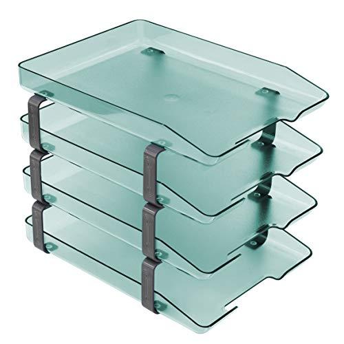 Acrimet Traditional Letter Tray 4 Tier Frontal, Plastic Desktop File Organizer (Clear Green) ()