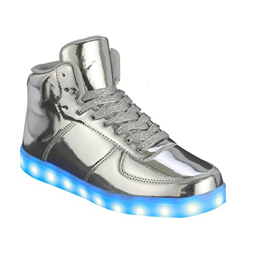 (Coshare Women's Fashion USB Charging LED Light Up Rave Flashing Sneakers, Silver, 8.5 M US)