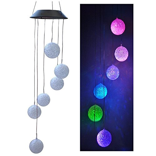 Lighten Glimmer Solar Wind Spinner Color Changing Glow Ball Wind Chime Lamp Mobile For Home Outdoor Garden Ligting (Multi Position Hook)