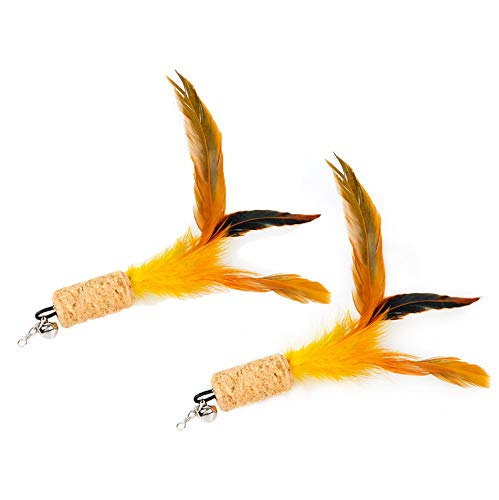 (ZoyPet 2 Pcs Cat Toys Interactive Refill Replacement Feather Pack Furry Tail Butterfly Dragonfly Fish Mouse Caterpillar Worm Birds Feathers for Kitten Cats, 21 Variety Styles CT15-7 Cork Feather)