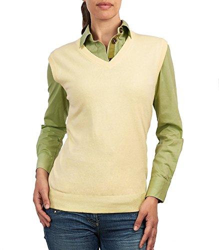 Wool Overs Women's Cashmere & Cotton V Neck Sweater Vest Lemon Extra Extra Large