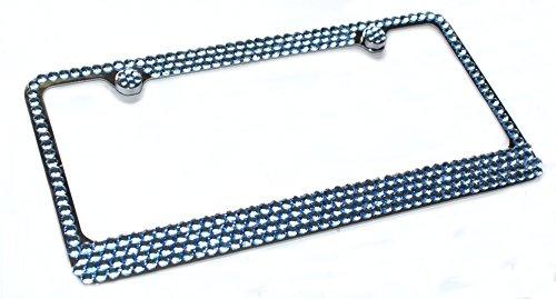 (Hotblings 4 Row LIGHT BLUE Rhinestone Crystal Sparkle Bling License Plate Frame & Caps Set )