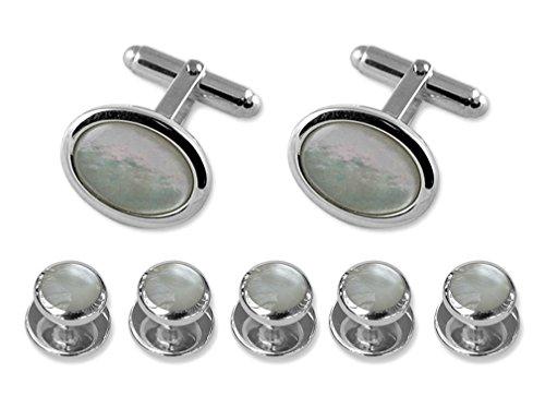 Cufflinks Gift Studs mother Shirt silver pearl of Dress Sterling oval Set zX4Onxa