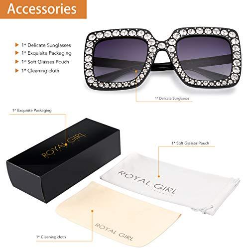 a1aa8f7b958 ROYAL GIRL Sunglasses Women Oversized Square Crystal Brand Designer Shades