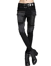 Minibee Women's Harem Patchwork Leather Pocket Punk Style Personalized Pants Black