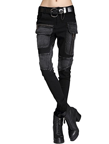 Minibee Women's Harem Patchwork Leather Pocket Punk Style Personalized Pants Black 3 -