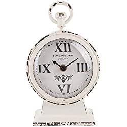 NIKKY HOME Vintage Rustic Metal Round Table Clock with Handle White 4.75 by 2.5 by 7.62 Inches
