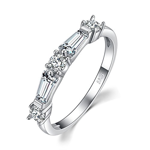 JewelryPalace 3ct Round and Baguette Cubic Zirconia Ring 925 Sterling Silver Size 6