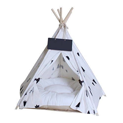 Penck Pet Teepee Dog Cat Bed – Portable Dog Tents Pet Houses with Thick Cushion Blackboard, 24 Inch Tall, for Pets Up to 15lbs