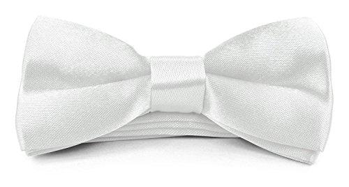 (Boys Kids Childs Bow ties - Adjustable Pre Tied 4x2 Satin Silk Bowties Moda Di Raza - White)