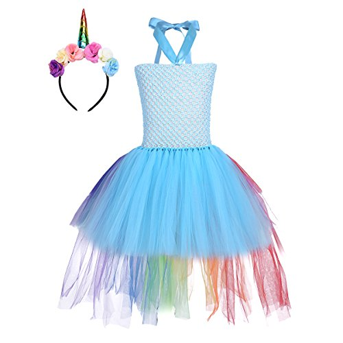 (YiZYiF Children Girl Mythical Dress Kids Princess Tutus Party Dresses Easter Halloween Costume Rainbow Train Blue)