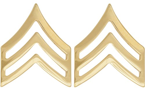 U.S. Army Metal Pin On Enlisted Rank NON-SUBDUED (SHINY) - 1 PAIR (E5 SGT)