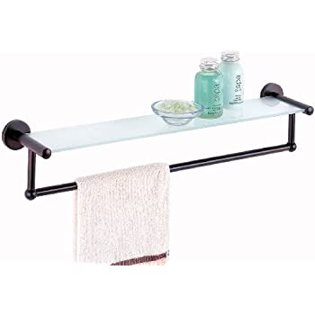 organize it all oil rubbed glass shelf with towel bar - Bathroom Accessories Glass Shelf