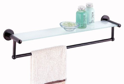 Bathroom shelf with towel bar for Bathroom glass shelves