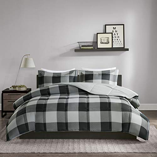 JLA Home INC Madison Park Essentials Barrett Comforter Set Twin/Twin XL Bedding Sets - Grey, 3M Scotchgard Plaid - 2 Piece Teen Bed Set - Ultra Soft Microfiber Bed Comforter