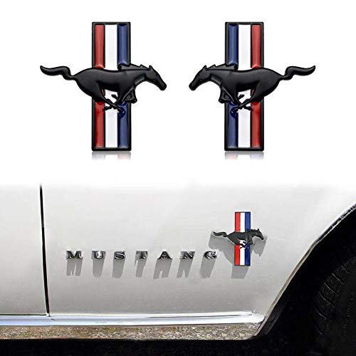 (2pcs Running Horse Emblem Metal Door Fender Decor Decal Sticker For Ford Mustang)